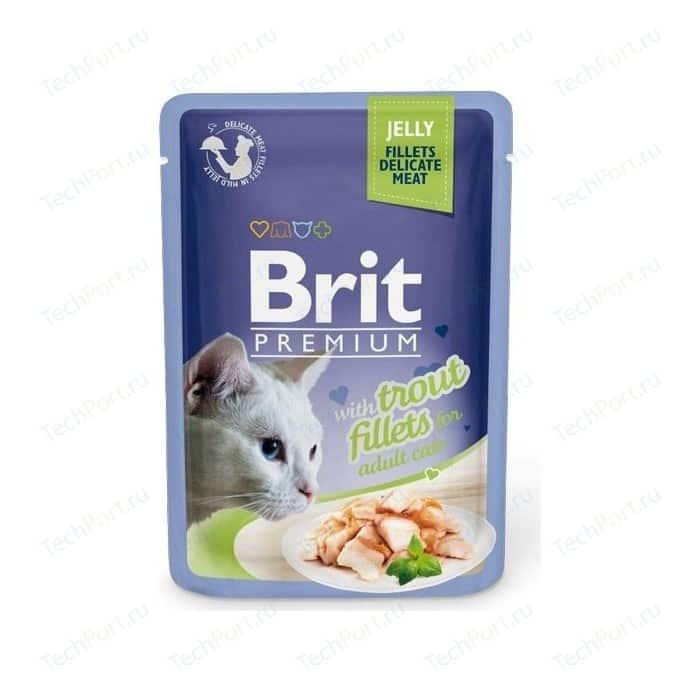 Паучи Brit Premium JELLY with Trout Fillets for Adult Cats кусочки в желе с филе форели для взрослых кошек 85г (518494)