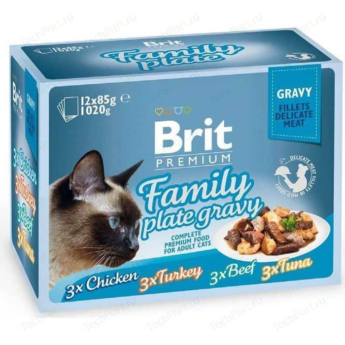 Паучи Brit Premium Family Plate Gravy Chicken,Turkey,Beef,Tuna кусочки в соусе курица, индейка, говядина, тунец для кошек 12х85г (519422)