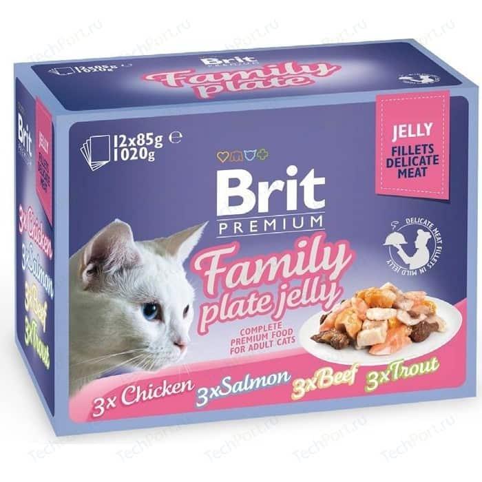 Паучи Brit Premium Family Plate Jelly Chicken,Salmon,Beef,Trout кусочки в желе курица, лосось, говядина, форель для кошек 12х85г (519408)
