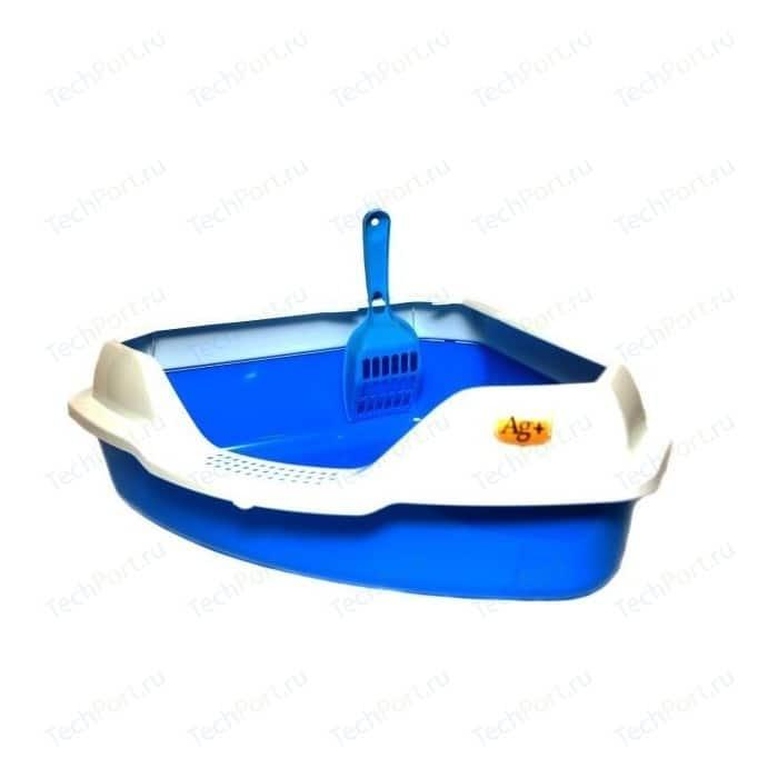 Туалет HomeCat угловой с бортиком голубой в комплекте совком для кошек 56х42х18 см