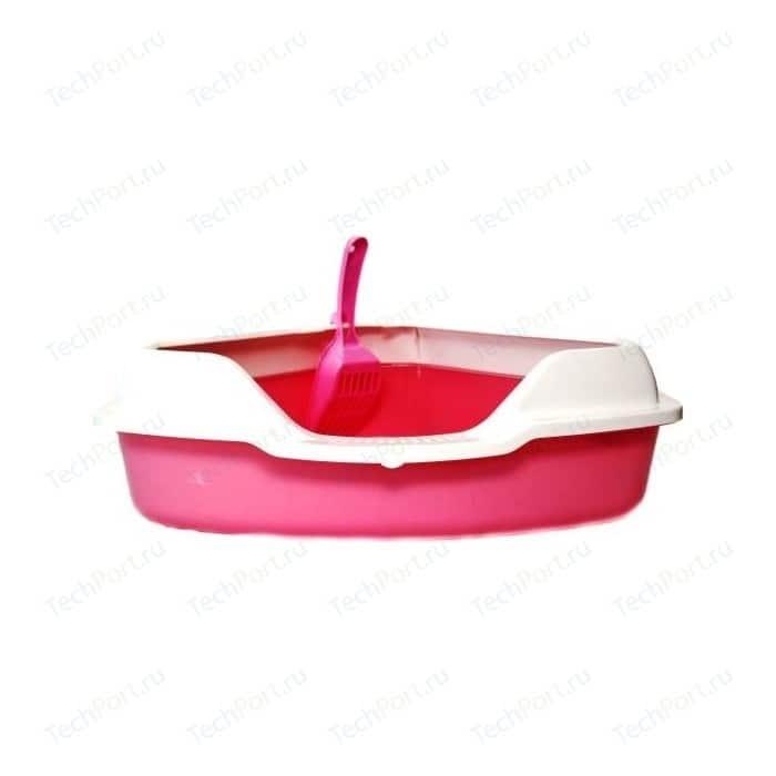 Туалет HomeCat угловой с бортиком розовый в комплекте совком для кошек 56х42х18 см
