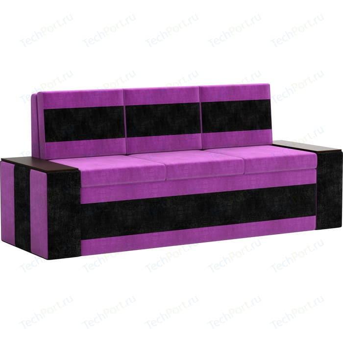 Кухонный диван Мебелико Лина Микровельвет (фиолетово/черный)