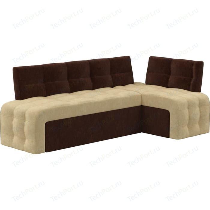 Фото - Кухонный угловой диван Мебелико Люксор микровельвет (бежево/коричневый) угол правый кухонный угловой диван мебелико салвадор микровельвет бежево коричневый правый угол