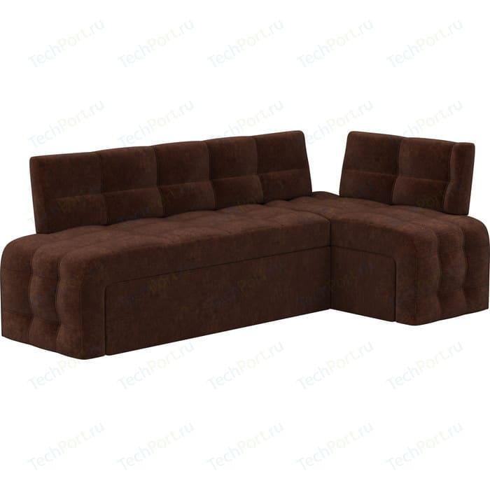 Кухонный угловой диван АртМебель Люксор микровельвет (коричневый) угол правый диван угловой артмебель даллас микровельвет коричневый правый