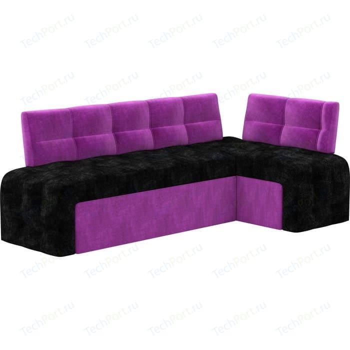 Фото - Кухонный угловой диван АртМебель Люксор микровельвет (черно/фиолетовый) угол правый детский диван артмебель орнелла микровельвет черно фиолетовый правый угол