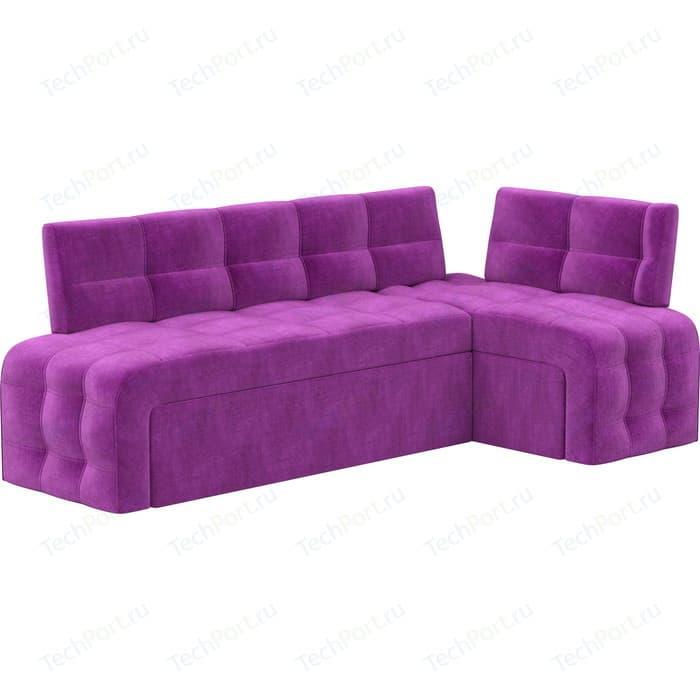 Кухонный угловой диван Мебелико Люксор микровельвет (фиолетовый) угол правый