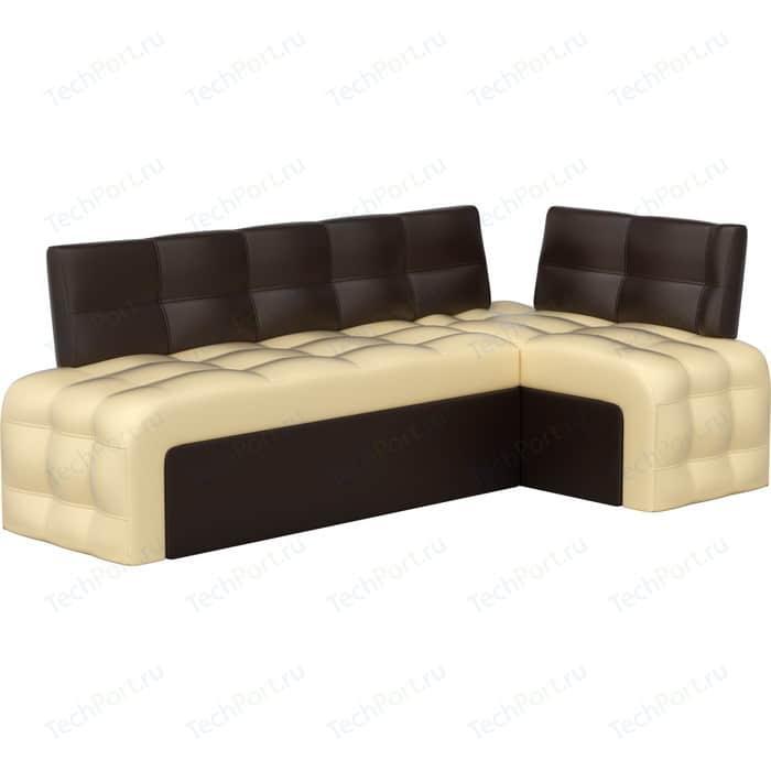 Фото - Кухонный угловой диван АртМебель Люксор эко-кожа (бежево/коричневый) угол правый кухонный диван артмебель классик эко кожа бежево коричневый