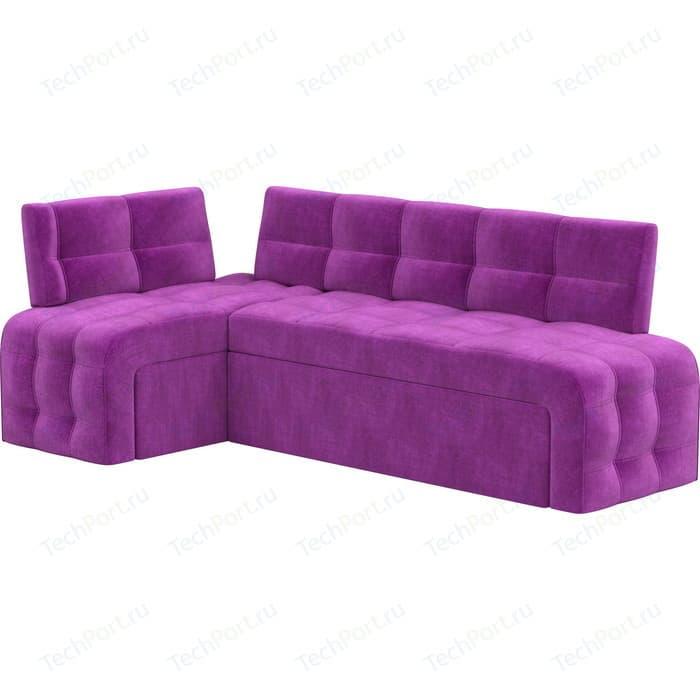 Кухонный угловой диван Мебелико Люксор микровельвет (фиолетовый) угол левый