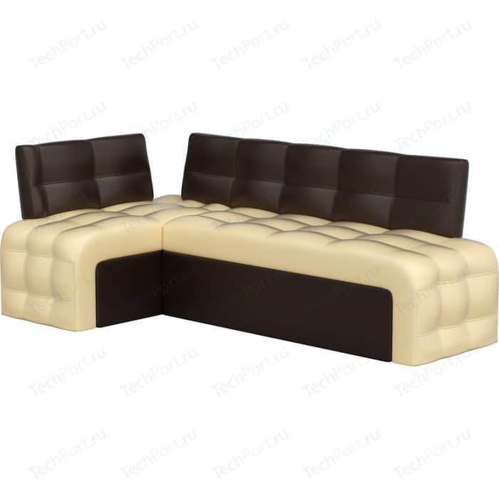 Фото - Кухонный угловой диван АртМебель Люксор эко-кожа (бежево/коричневый) угол левый кухонный диван артмебель классик эко кожа бежево коричневый