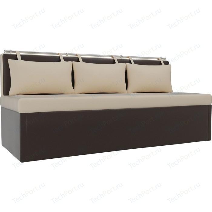 Кухонный диван АртМебель Метро эко-кожа бежево-коричневый