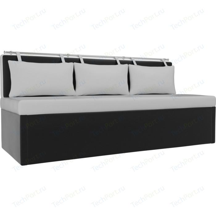 Кухонный диван АртМебель Метро эко-кожа белый-черный