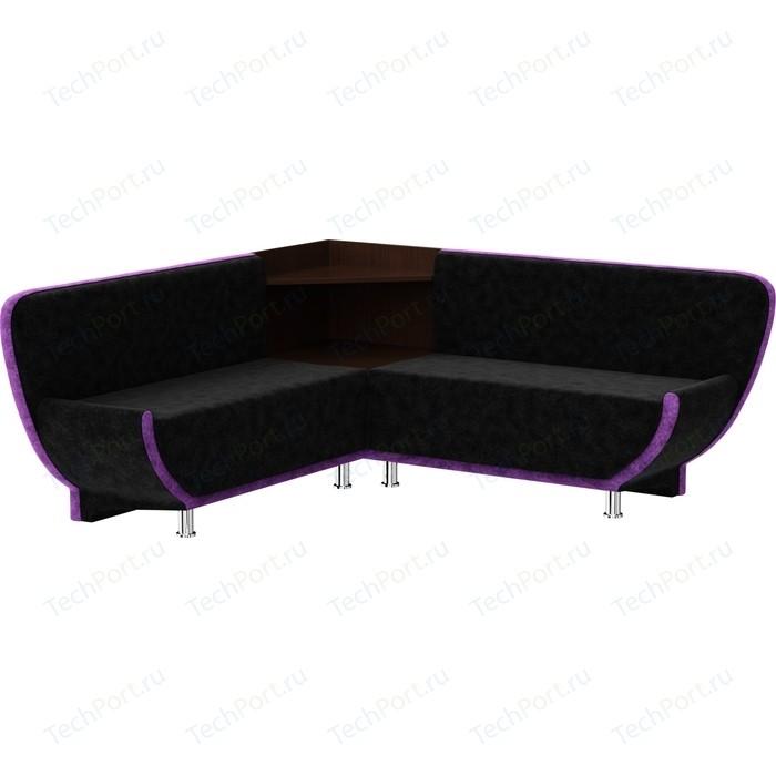 Кухонный диван Мебелико Лотос микровельвет черно-фиолетовый угол левый