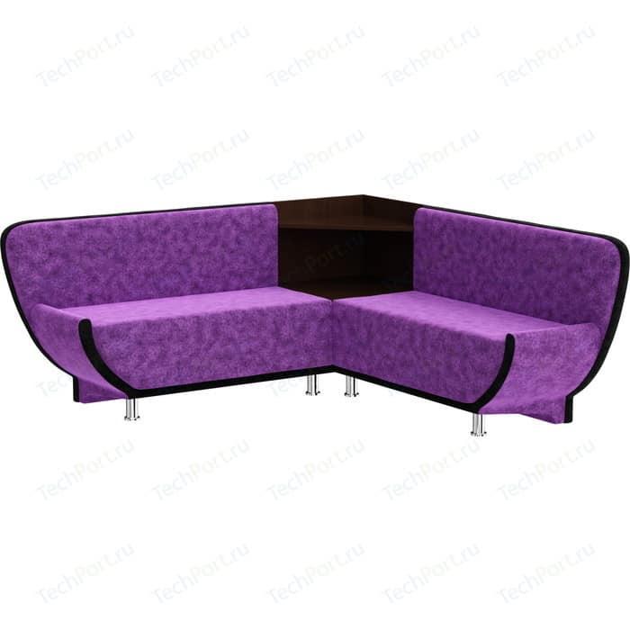 Кухонный диван Мебелико Лотос микровельвет фиолетово-черный угол левый