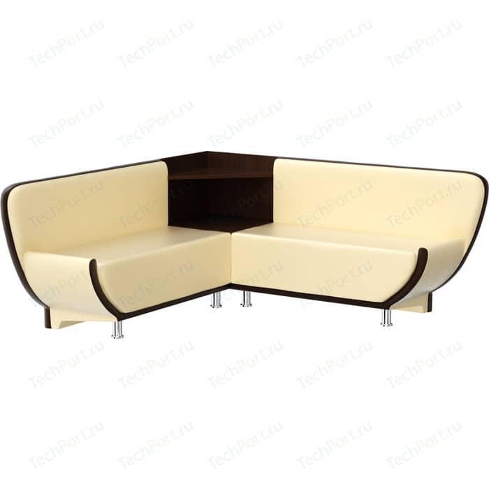 Фото - Кухонный диван АртМебель Лотос эко-кожа бежево-коричневый угол левый кухонный диван артмебель классик эко кожа бежево коричневый