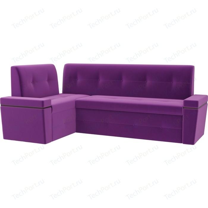 Кухонный угловой диван АртМебель Деметра микровельвет (фиолетовый) левый угол