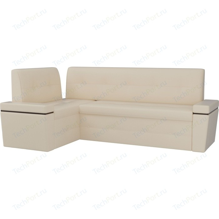 Кухонный угловой диван АртМебель Деметра эко-кожа (бежевый) левый угол кухонный угловой диван артмебель деметра велюр бежевый левый угол