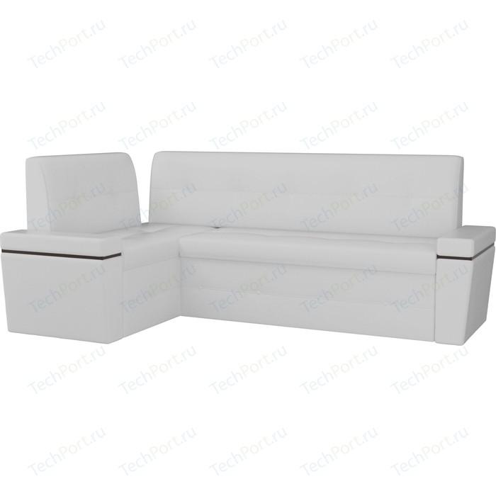 Кухонный угловой диван АртМебель Деметра эко-кожа (белый) левый угол
