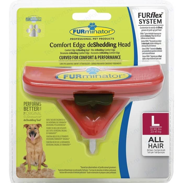 Насадка FURminator FURflex deShedding Head L Comfort Edge Large Dog All Hair против линьки для собак крупных пород с любой длиной шерсти