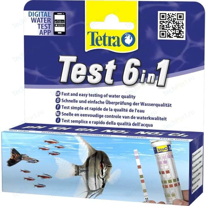 цена на Тест Tetra TetraTest 6 в 1 GH/KH/NO2/NO3/pH/Cl полоски для пресной воды 25 шт.