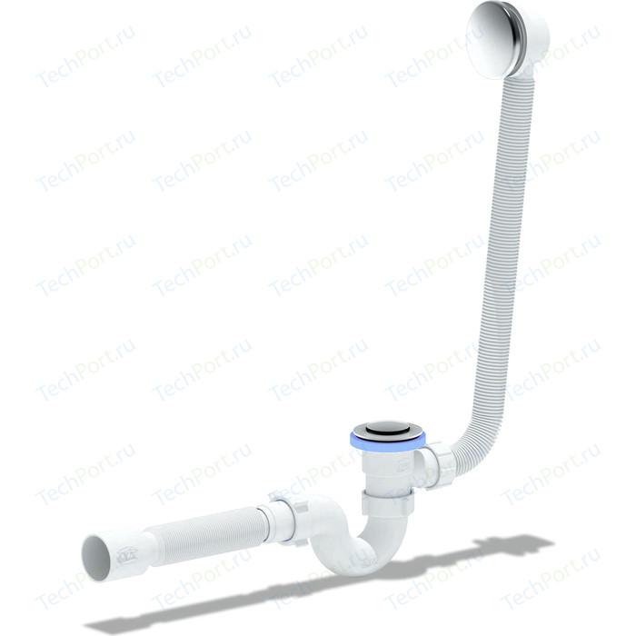 Слив-перелив для ванны АНИ пласт полуавтомат с коленом и гофрой 40/50 (EC155)