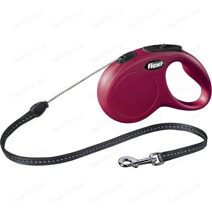 Рулетка Flexi New Classic S трос 5м красная для собак до 12кг
