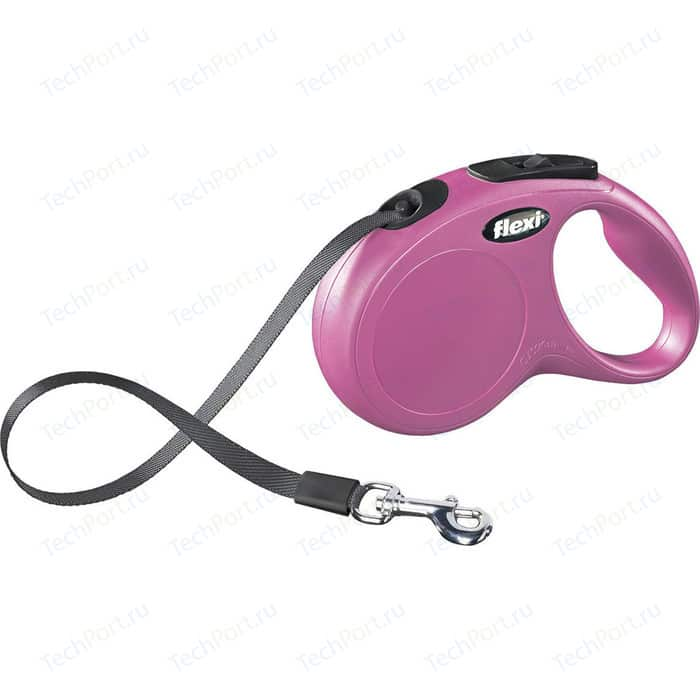 Рулетка Flexi New Classic S лента 5м розовая для собак до 15кг
