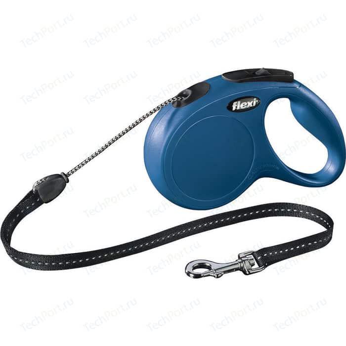 Рулетка Flexi New Classic М трос 5м синяя для собак до 20кг