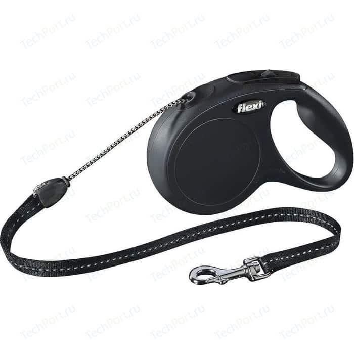 Рулетка Flexi New Classic М трос 5м черная для собак до 20кг