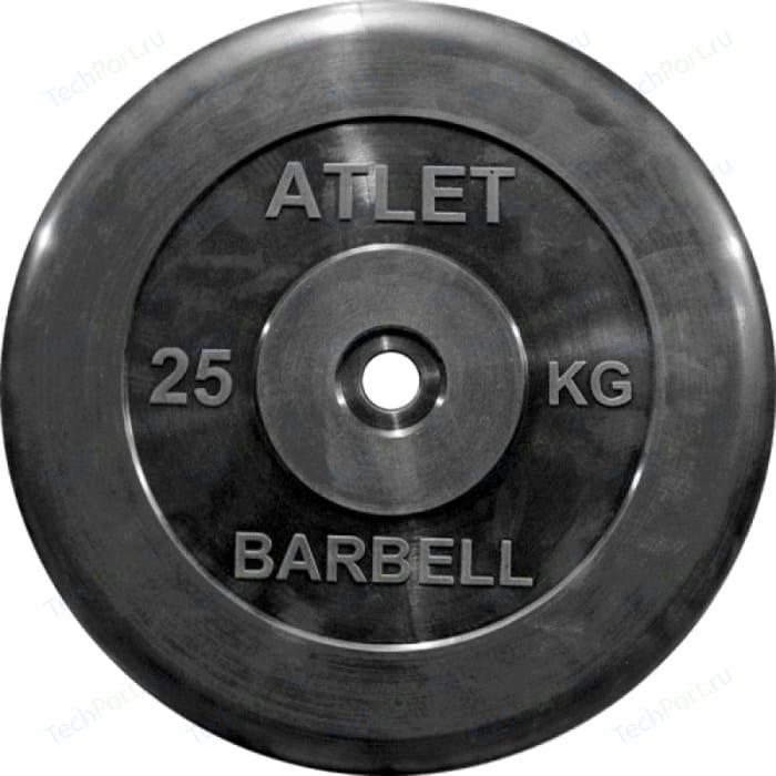 Диск обрезиненный Atlet 31 мм. 25 кг. черный