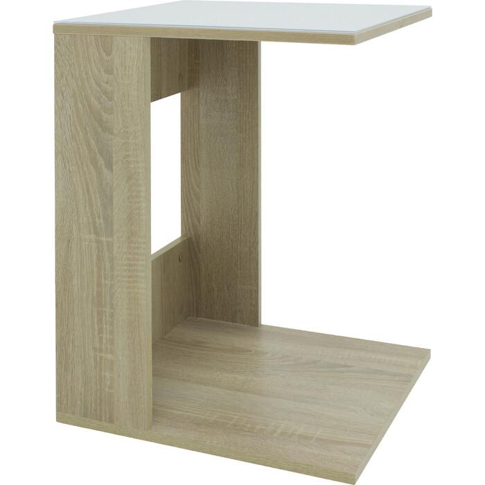 Стол журнальный Мебелик BeautyStyle 3 сонома/стекло белое