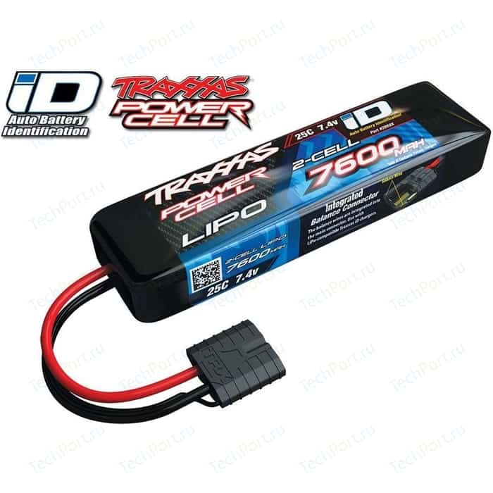 Аккумулятор TRAXXAS 7600мАч 7.4В 2 Cell 25C Li-Po Battery (iD Plug)