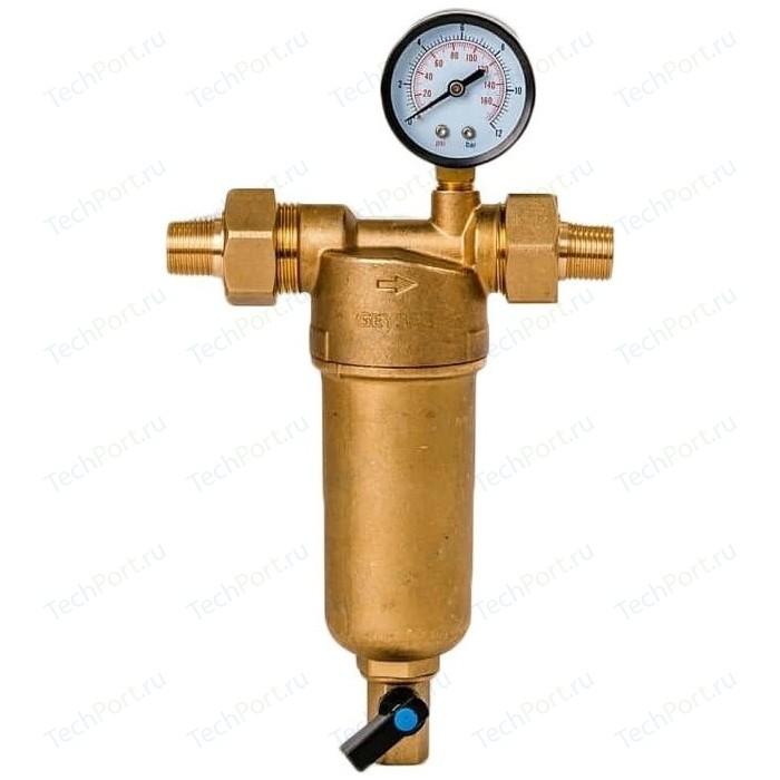 Фильтр предварительной очистки Гейзер Бастион 122 1/2 (с манометром, для горячей воды воды, d60) (32672)