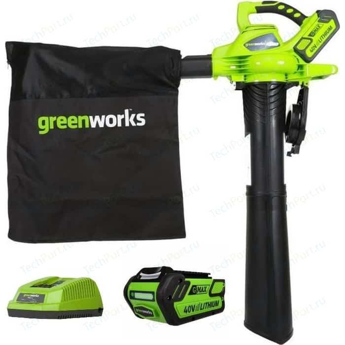 Воздуходувка аккумуляторная садовая GreenWorks 40V G-Max GD40BV (24227UB)