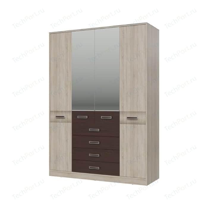 Шкаф 4-х дверный с ящиками Гранд Кволити Румба 4-4817 дуб сонома/венге недорого