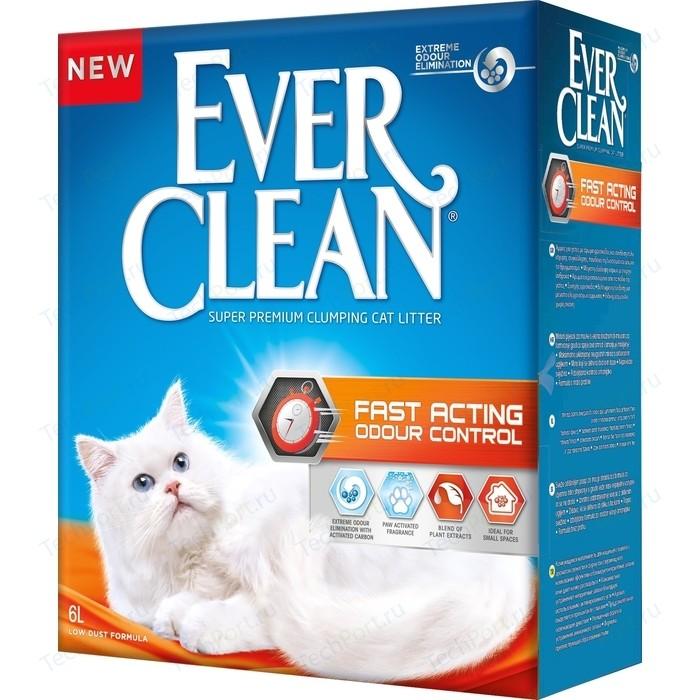 Наполнитель Ever Clean Fast Acting мгновенный контроль запахов комкующийся для кошек 6л