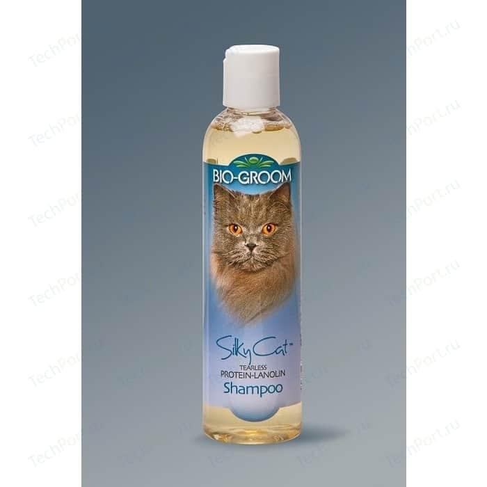 Шампунь-кондиционер BIO-GROOM Silky Cat Protein-Lanolin Shampoo с протеином-ланолином шелковый без слез для кошек 237мл (20008)