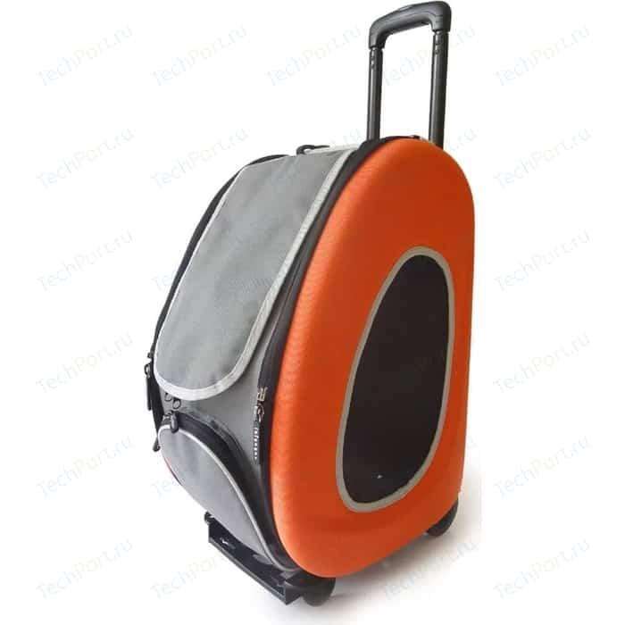Сумка-тележка Ibiyaya складная оранжевая 3 в 1 (сумка, рюкзак, тележка) для собак до 8 кг (FC1008-O)