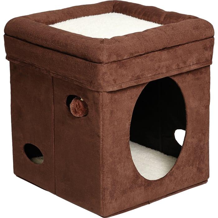 Домик Midwest Curious Cat Cube- Brown Suede складной с лежанкой для кошек 38,4x38,4x42h см