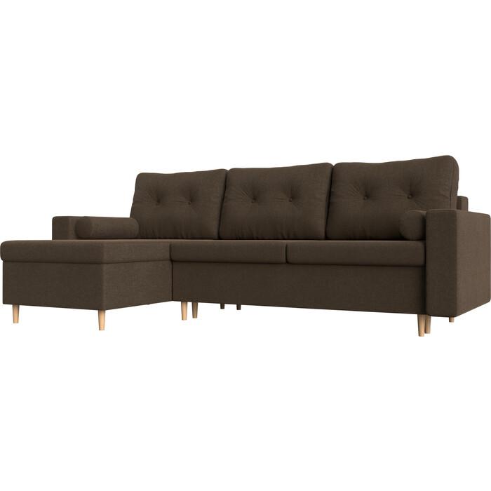Угловой диван АртМебель Белфаст рогожка коричневый левый угол