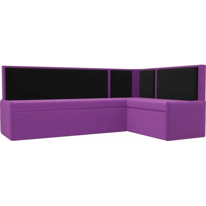 Кухонный угловой диван АртМебель Кристина микровельвет фиолетово/черный правый