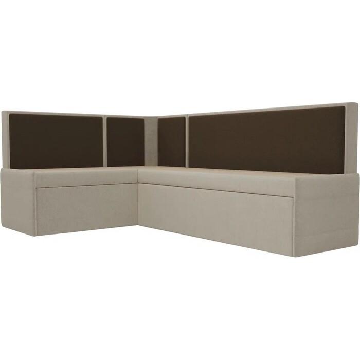 Кухонный угловой диван АртМебель Кристина микровельвет бежево/коричневый левый