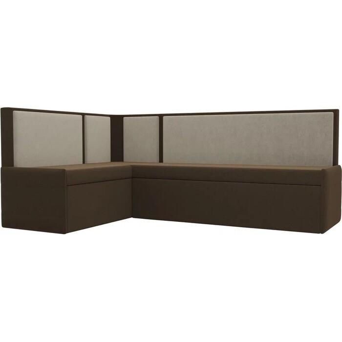 Кухонный угловой диван АртМебель Кристина микровельвет коричнево/бежевый левый