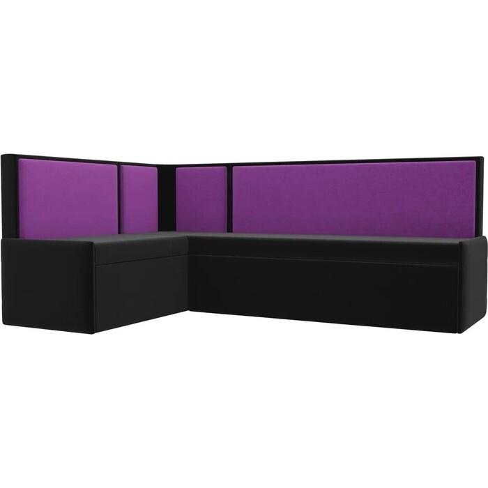 Кухонный угловой диван АртМебель Кристина микровельвет черно/фиолетовый левый