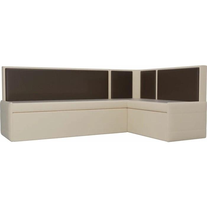 Фото - Кухонный угловой диван АртМебель Кристина эко-кожа бежево/коричневый правый кухонный диван артмебель классик эко кожа бежево коричневый