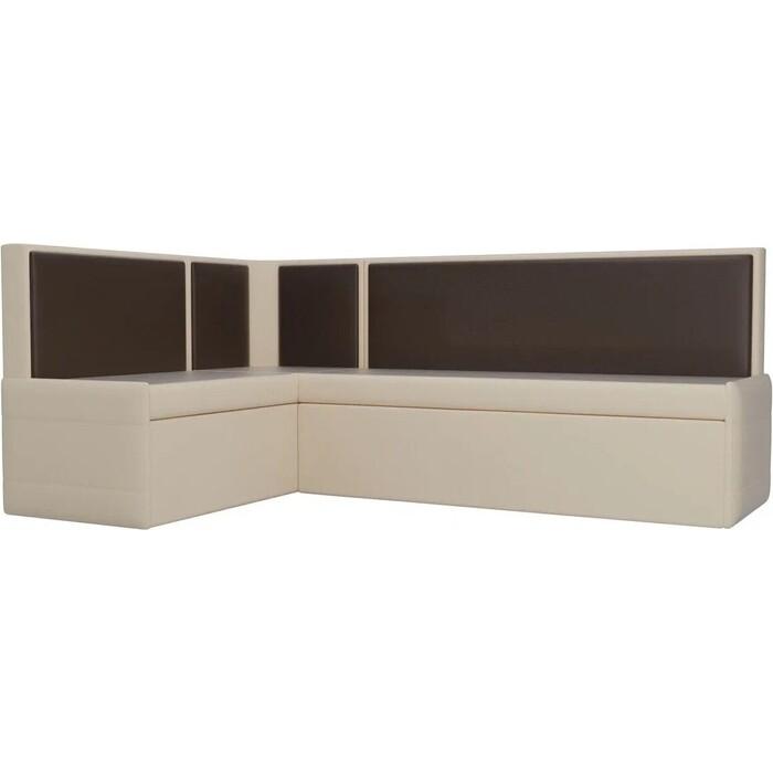 Фото - Кухонный угловой диван АртМебель Кристина эко-кожа бежево/коричневый левый кухонный диван артмебель классик эко кожа бежево коричневый