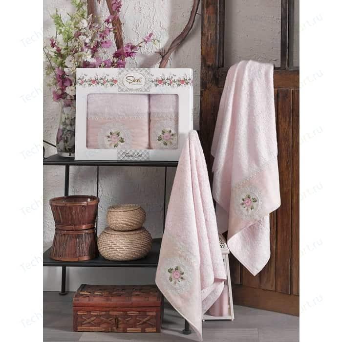 цена Набор из 2 полотенец Sikel Kanevice розовый бамбук с вышивкой 50x90/70x140 (9491розовый) онлайн в 2017 году