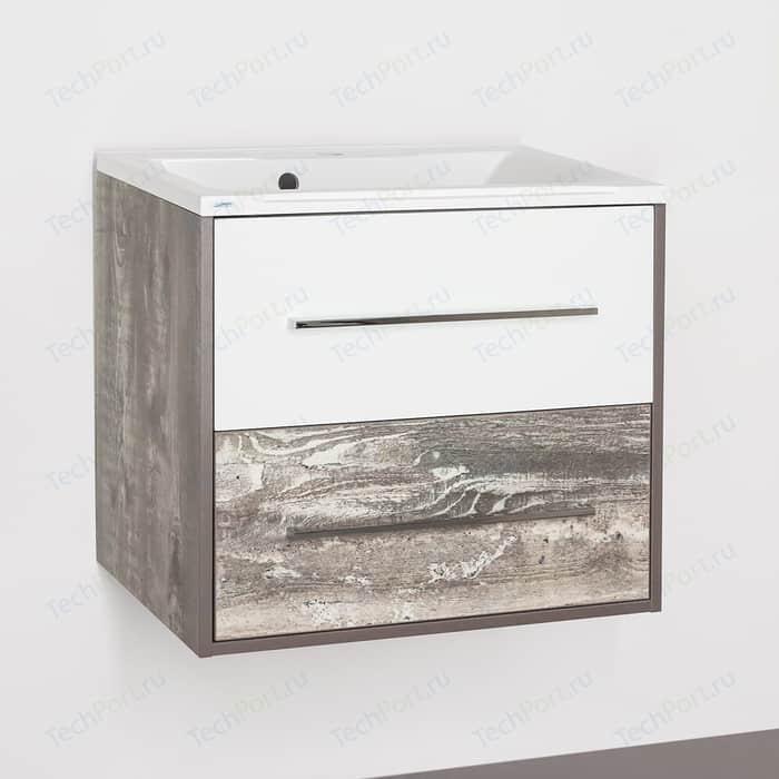 Тумба под раковину Style line Экзотик 65 бетон экзотик, белый глянец (4650134472288)