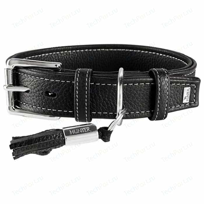 Ошейник Hunter Collar Cannes 50 (34-42см)/2,8см натуральная кожа черный для собак