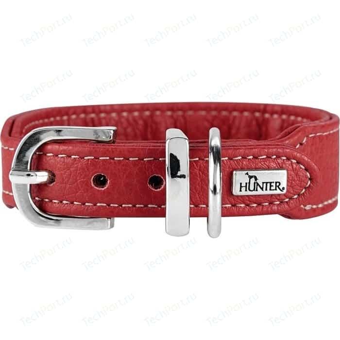Ошейник Hunter Collar Cannes Mini 37 (29-34см) натуральная кожа красный для собак
