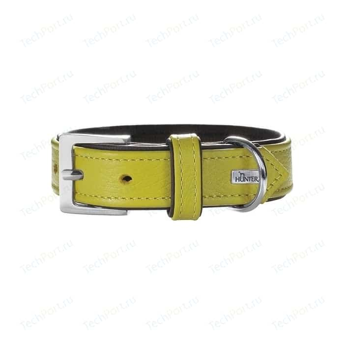Ошейник Hunter Collar Capri 45 nickel (33-39см) натуральная кожа лайм/черный для собак